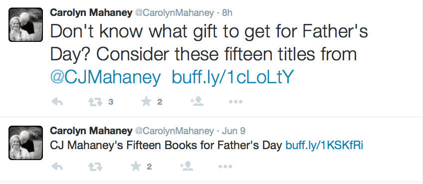 2015-06-11 Carolyn tweets on CJ books