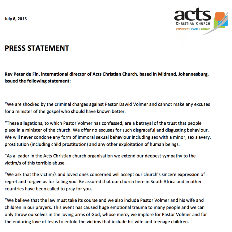 2015-08-01 Statement by Acts Christian Church