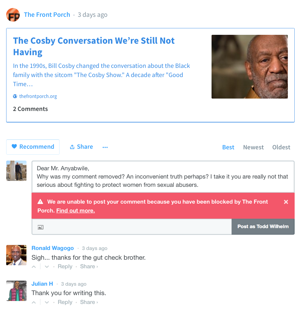 2015-09-24 Blocked from commenting on Anyabwile blog