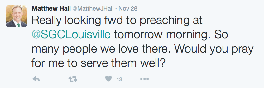 2015-12-10 Matthew Hall looking forward to preaching at SG Louisville