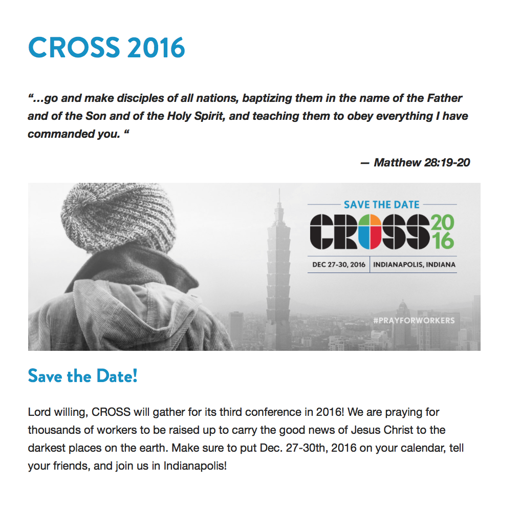 2015-12-22 CROSS 2016 Praying for thousands of missionaries