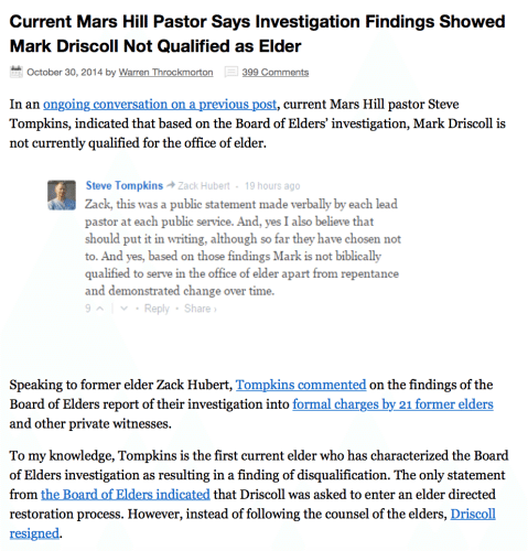 2016-02-08 Mars hill pastor says Driscoll unfit