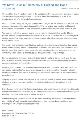2016-03-22 CLC statement on abuse