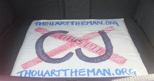 2016-04-13 Thou Art The Man sign at T4G