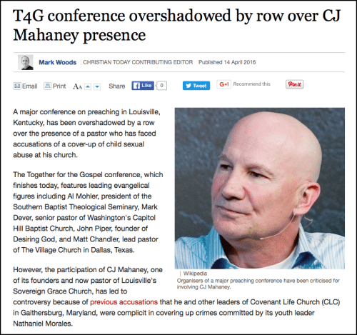 2016-04-14 Christian Today article on T4G Mahaney