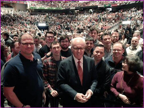 John MacArthur at the 2016 T4G conference, surrounded by his worshippers.