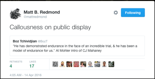 2016-05-12 Redmond:Boz tweet about Mohler:Mahaney