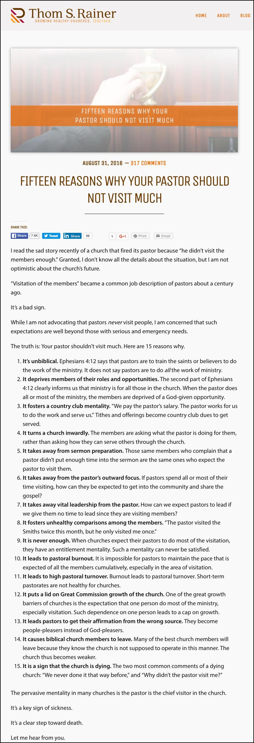 2016-09-06 Thom Ranier 15 Reasons pastors not do visitation