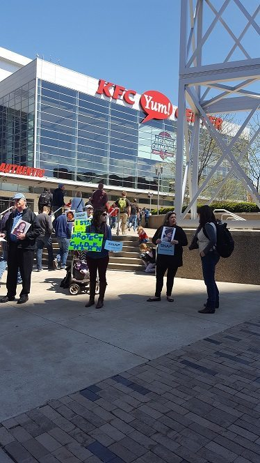 Protesters at T4G