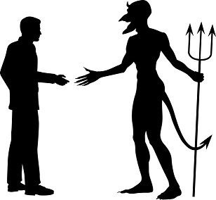 man shaking hands with the devil